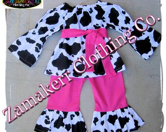 Girl Cow Outfit Set - Girl Farm Birthday Party - Cow N Pink Top Ruffle Pant Outfit Set 3 6 9 12 18 24 month size 2t 2 3t 3 4t 4 5t 5 6 7 8