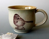 Ceramic Mug - Song Sparrow - 12 oz  - Hand Thrown Stoneware