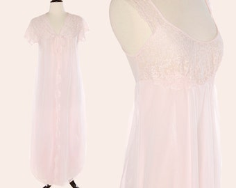 Vintage 60s Peignoir Set / Pale Pink Nightgown Set / 60s Radcliffe Nightgown