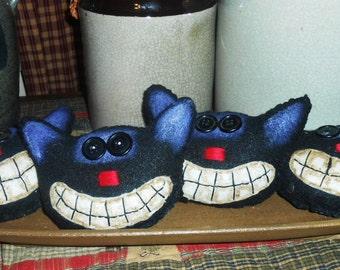 Set Of 5 Black Felt Cat Ornies Bowl Fillers FAAP OFG