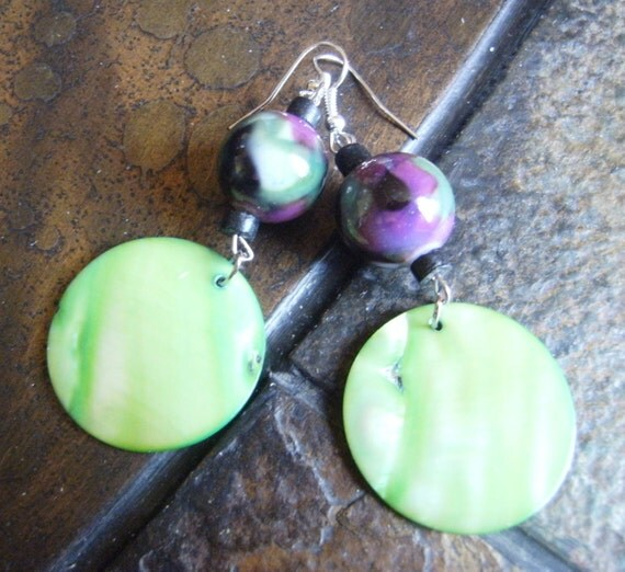 Vineyard Glass Mother of Pearl and Wood Beaded Dangle earrings