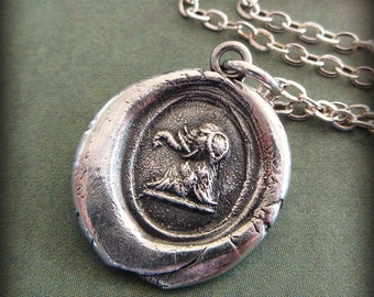 Elephant Wax Seal  Necklace - Strength, Wit and Ambition - good luck symbol - good luck jewelry