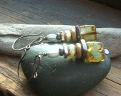 Sage Stacked Czech glass in sage green and cinnamon  with silver and bronze ceramic spacer earrings