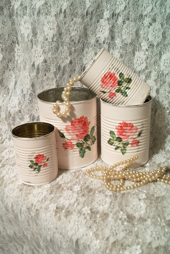 4 Cottage Chic Tin Cans Canister Set Shabby Roses Creamy Pink