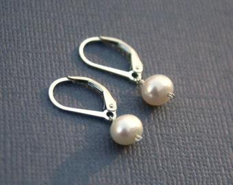 Tiny sterling silver earrings- freshwater pearl earring, leverback