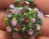 Handmade Lampwork Bead -Shades of Pink Hollyhocks Spree- SRA  S105