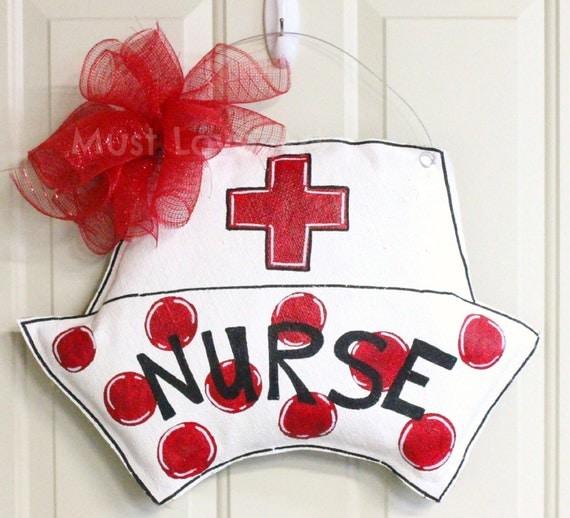 Nurse rn lpn hat burlap door hanger hospital by for Nursing home door decorations