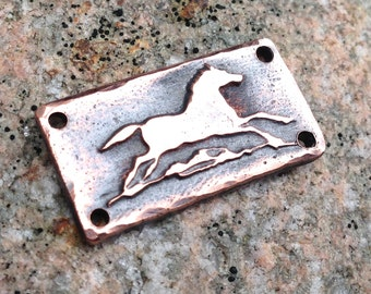 Galloping Horse Copper Bracelet Link - Rustic Horse Jewelry - Antqued Copper Conncetor Link