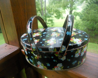 Oval Tin Can With Handles Sewing Containers Black Floral 1950 Vintage