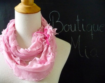 SAMPLE - Infinity SCARF - Ruffle with Velvet Bow - Pink - by Boutique Mia and More - Ready To Ship
