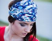 Women's Navy Blue Ikat Bandana Headband, Extra Wide Headbands