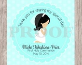 PRINTABLE First Holy Communion Favor Tags in Aqua Blue / Print Your Own Personalized Stickers for First Holy Communion / Choose Hair Color