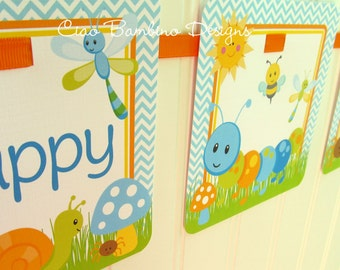 Cute as a Bug, Personalized Happy Birthday Banner for Boys