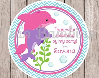 Pink and Purple Dolphin Birthday Party Favor Tags or Stickers / Set of 12