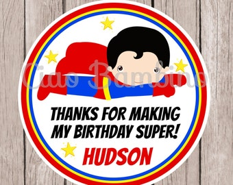 PRINTABLE Superman Birthday Party Favor Tags / Print Your Own Personalized Superman Stickers for Superhero Birthday Party / You Print