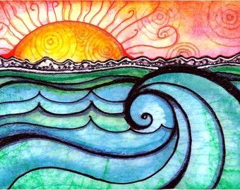 A New Day Surf print sunrise print ocean waves beach sunset