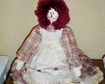 Primitive Raggedy Ann doll-rag doll-handmade doll---free shipping