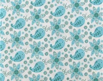 AQUA PAISLEY YARDAGE Fabric by the yard aqua and white paisley print cotton