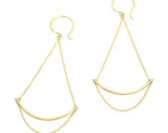 Swing Chain Earrings, Delicate Gold Chain Earrings, Bridesmaid Earring, Gold Fill Chain, Minimal Gold Earring, Gift for Her - Verge Earrings