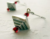 Modern Geometric Sterling Silver earrings with red accent, Gift for Her Jewelry