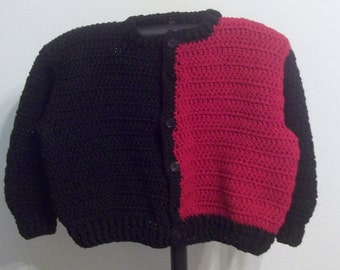 Boy's Red and Black Handcrocheted Cardigan/Sweater- Back to School - Ready to Ship