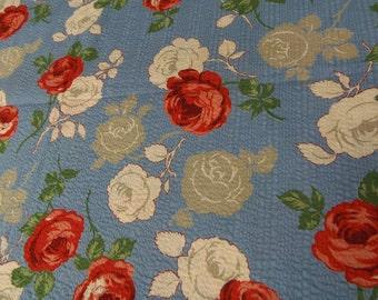 "Vintage Cotton Seersucker 18""x 30"" Wide Fabric Red White Grey Roses NOS"