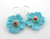 Turquoise Glass Bead Jewelry, Lampwork Earrings, Flower Glass Bead Earrings, Lampwork Jewelry, Beadwork Earrings