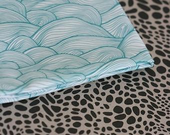 Seascape Fabric- Small Piece - Aqua on White