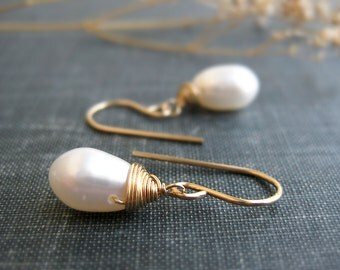 Drop Pearl Earrings - wedding, bridal, genuine ivory freshwater pearl teardrop, available in gold, silver and bronze, bridesmaids