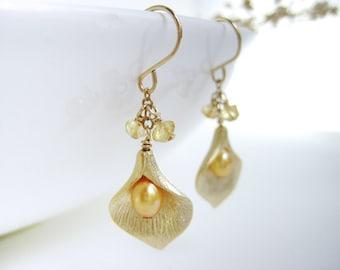 Yellow Pearl Earrings - November birthstone, gold flower bridesmaid earrings w citrine, bridal wedding, nickel free - Calla Lily