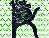 Koala K Monogram Linocut - Alphabet Typographic Lino Block Print with Animals - K is for Koalas, Nursery Art, Kid's Illustration