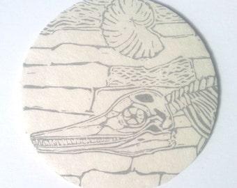 Circular Fossil Linocut - Lino Block Print of Fossil Dinosaur Bones - Paleontology, Fossil Hunting, Ichthyosaur, Scientific Illustration