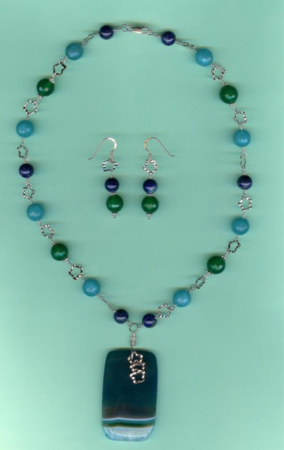 Aquamarine, Lapis & Green Agate Sterling Silver Twisted Star Link Drop Set