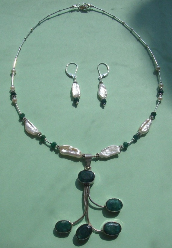 Emerald & Freshwater Stick Pearls Sterling Drop Set