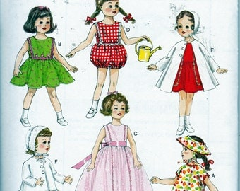 """Butterick 6001 Retro '56 Girl Doll Clothes Fits 18"""" Vintage Dolls Sewing Pattern New UNCUT"""