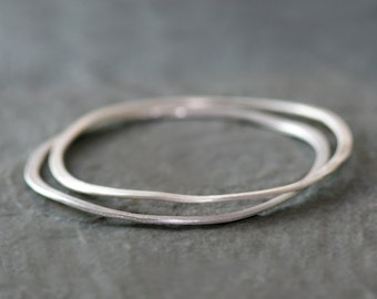 Wavy Bangle in Sterling Silver