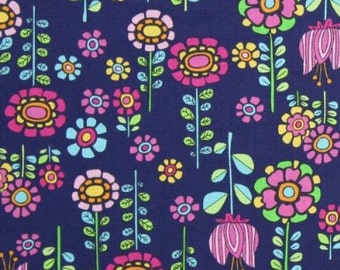 Timeless Treasures Elephant Showers Wildflowers Navy Blue By the 1/2 yard