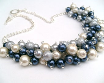Set of 7 Ivory Navy Silver Pearl Beaded Necklace, Wedding Bridesmaid Jewelry, Cluster Necklace, Chunky Necklace, Bridesmaid Gift, Bridesmaid