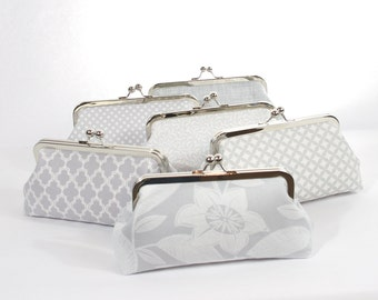 Dove Gray Wedding Accessories, Gray Grey Bridesmaids Gift Clutch Wedding party Clutch Gift Bridal Party Clutch Design your own Clutch Set