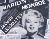 Marilyn Monroe printed Cotton fabric piece Newspaper clippings popart
