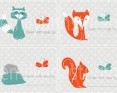Woodland Creatures Bookplates - Labels Set of 15