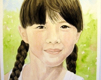Heirloom Custom 11 X 15 Watercolor Portrait of One Person Standard Size White Mat Included