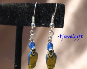 Blue and Yellow Macaw Parrot Earrings 14002