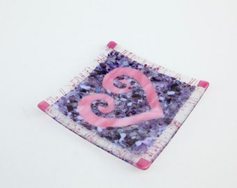Pink and Purple Fused Glass Heart Plate