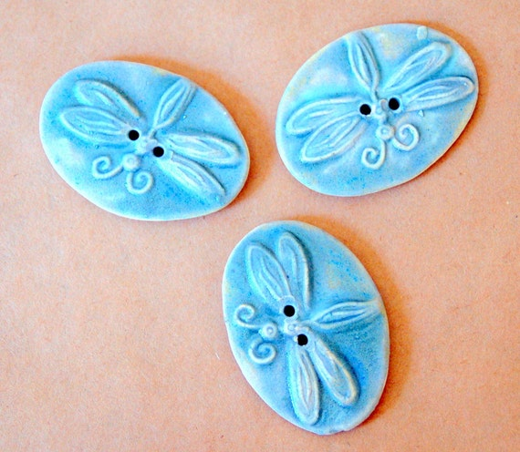 Reserved for Susan -2 Big and Bold Handmade Ceramic Dragonfly Buttons - And a square horse button in blue