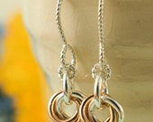 Sterling Silver, 14kt Rose and Yellow Gold Little Cuties Earrings