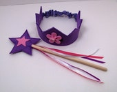 Wool Felt Crown and Wand -- violet with pink flower
