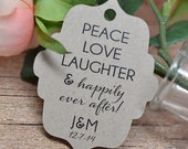 Fancy Die-Cut Custom Wedding Favor Tags Peace Love Laughter Gift Tags Hang Tags