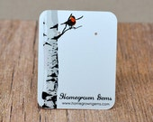 Birch Tree Red Bird Customized Earring Display Cards - Personalized Earring Cards Necklace Cards Tags Price Tags