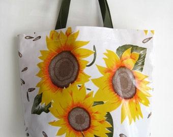 Durable Oilcloth Market Bag - Sunflower